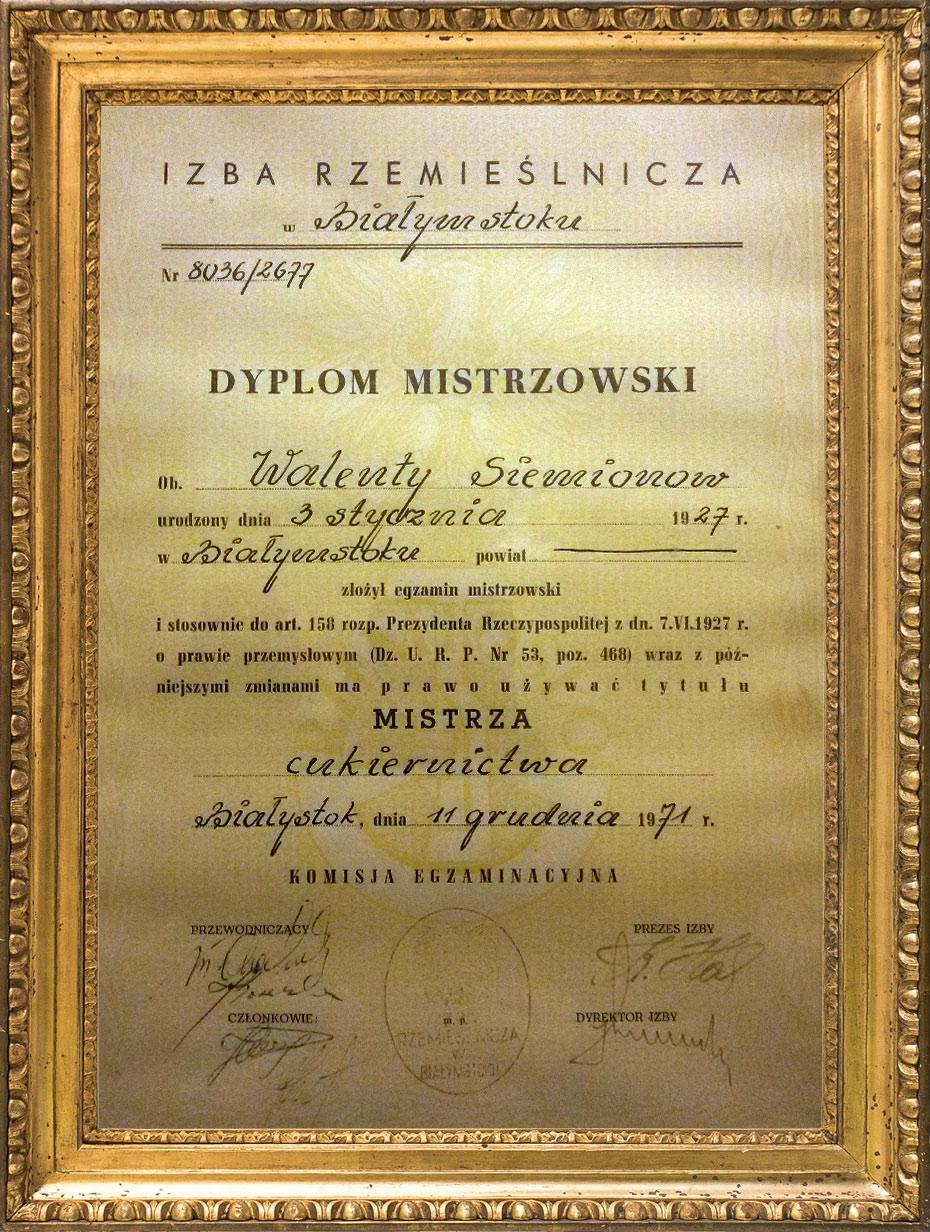 Dyplom mistrzowski Walentego Siemionow